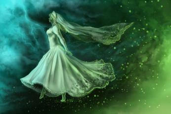 обоя фэнтези, призраки, призрак, фантастика, арт, невеста, девушка, профиль, белое, платье