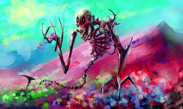 обоя фэнтези, нежить, череп, арт, скелет, por-t-falatron, цветы, кости