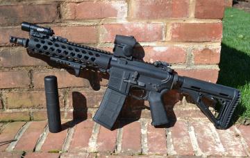 обоя оружие, автоматы, daniel, defense, карабин, штурмовая, винтовка, глушитель, стена