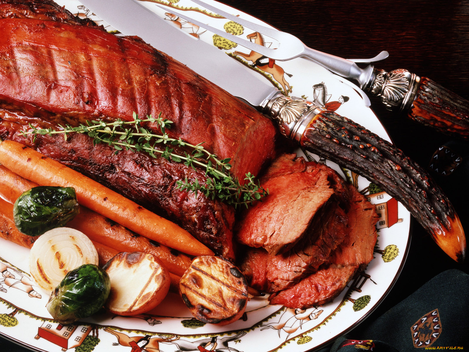 Открытка, открытки блюда из мяса