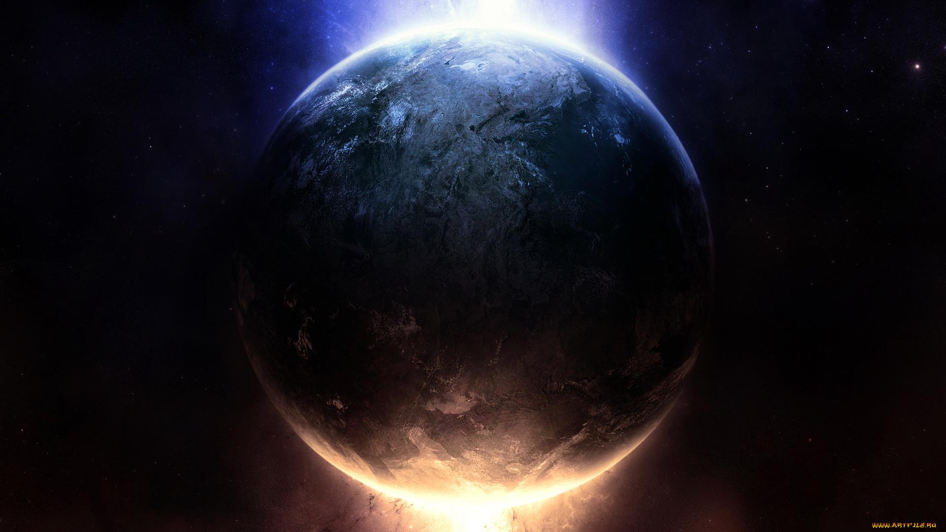 Обои планета земля свечение картинки на рабочий стол на тему Космос - скачать скачать