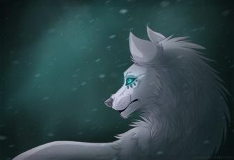 Картинка рисованные животные +сказочные +мифические волк взляд