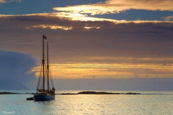 Картинка корабли Яхты закат море