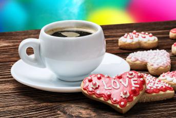 Картинка праздничные день+святого+валентина +сердечки +любовь надпись кофе печнье