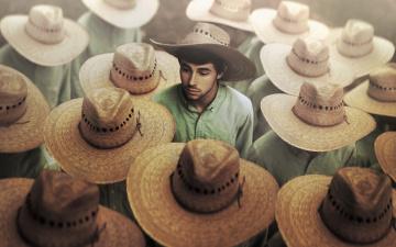 Картинка мужчины -+unsort парень шляпы толпа соломенные