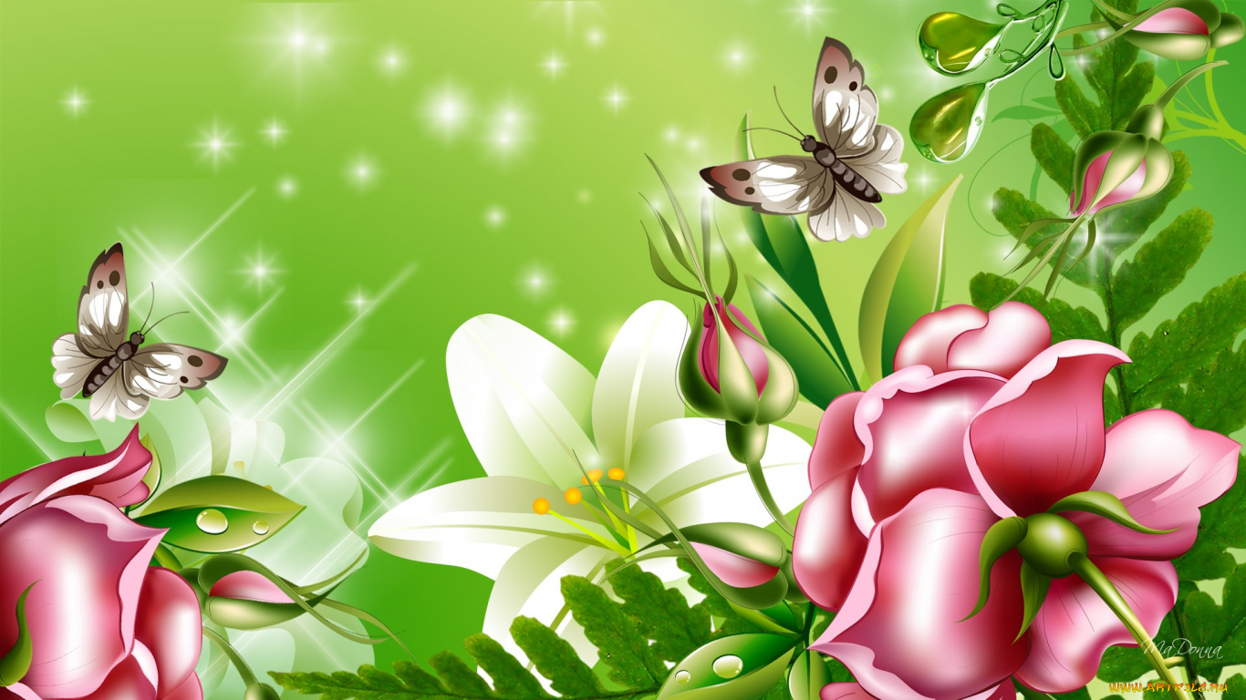 графика бабочки цветы вода graphics butterfly flowers water  № 1313476  скачать