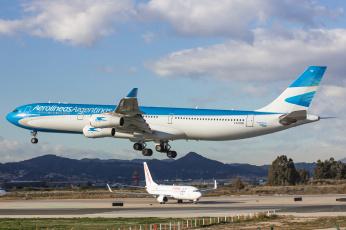 обоя airbus a340, авиация, пассажирские самолёты, авиалайнер