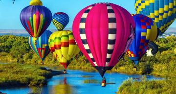 обоя авиация, воздушные шары, полет, много, река