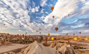 обоя авиация, воздушные шары, шары, облака