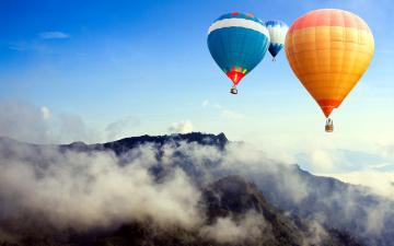 обоя авиация, воздушные шары, туман, горы, полет