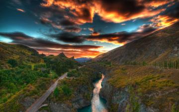 Картинка природа пейзажи горы закат река дорога