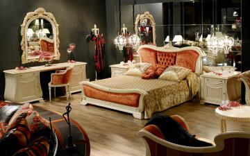 Картинка интерьер спальня зеркало кровать