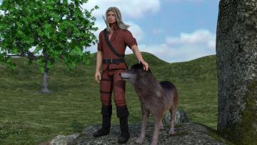 Картинка 3д+графика people+ люди природа волк мужчина