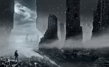 Картинка фэнтези иные+миры +иные+времена обломки каркасы снег туман человек здания руины облака вода небо