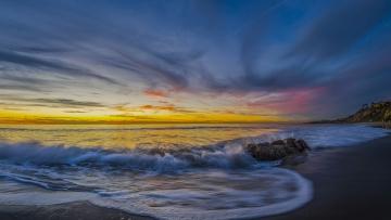 Картинка природа моря океаны monarch beach dana point california pacific ocean дана-пойнт калифорния тихий океан побережье пляж закат