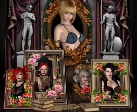 обоя 3д графика, портрет , portraits, взгляд, фон, девушки