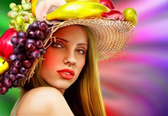 обоя рисованное, люди, холст, портрет, девушка, с, цветами, и, фруктами