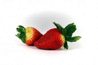 обоя еда, клубника,  земляника, ягоды, дуэт