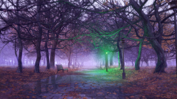 обоя рисованное, природа, фон, фонарь, скамейки, деревья, парк