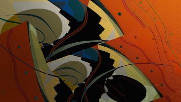 обоя векторная графика, графика , graphics, линии, формы, абстракция, холст, цвет