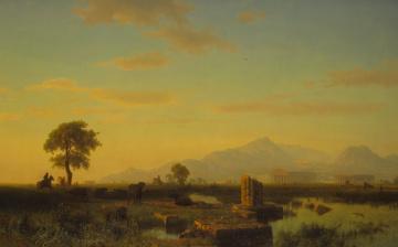 обоя рисованное, живопись, пейзаж, альберт, бирштадт, руины, пестуме, картина