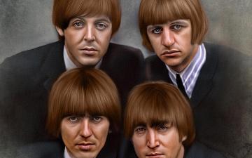 обоя рисованное, люди, основанная, в, 1960, г, ританская, рок-группа, из, ливерпуля, beatles