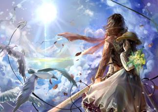 Картинка аниме shingeki+no+kyojin соломенная шляпа живопись океан горы свет солнце платье двое девочка mikasa ackerman девушка облака небо чайки птицы шарф обмундирование трос лезвие оружие цветы букет