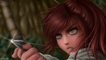 обоя аниме, оружие,  техника,  технологии, девушка, фон, взгляд