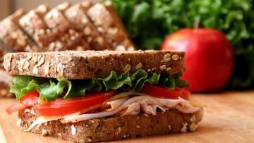 обоя еда, бутерброды,  гамбургеры,  канапе, помидоры, бутерброд, салат, хлеб, ветчина