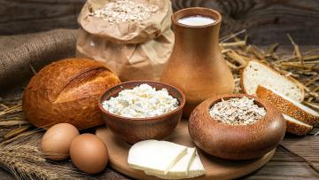 обоя еда, разное, сыр, творог, хлеб, хлопья, молоко, яйца