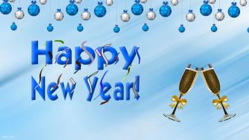 обоя праздничные, векторная графика , новый год, бокалы, фон, шары
