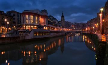 обоя города, - огни ночного города, река, дома