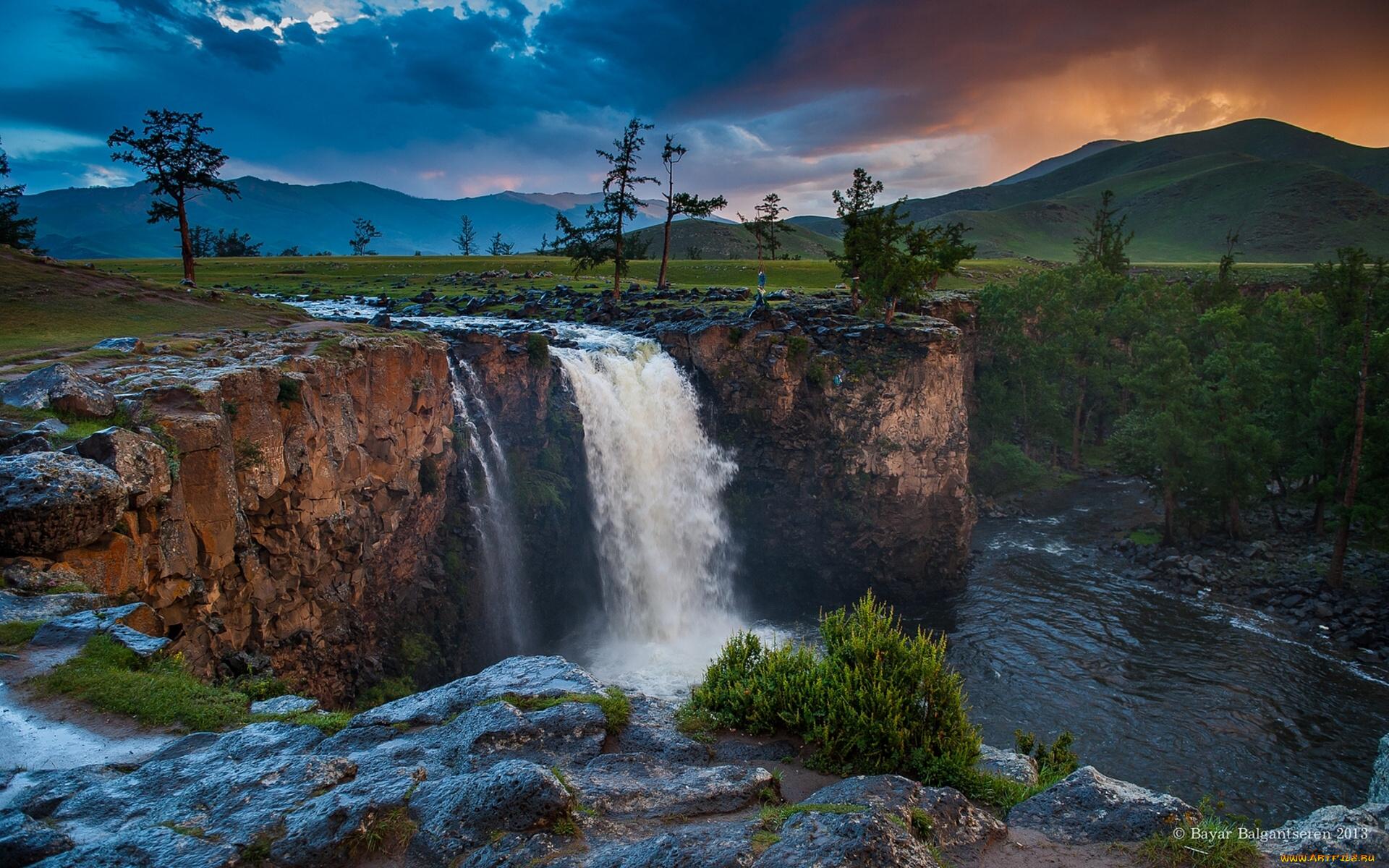 природа река деревья водопад небо облака загрузить