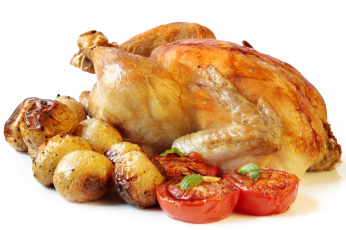 Картинка еда мясные блюда курица картофель помидоры