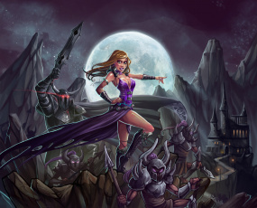 обоя рисованное, комиксы, девушка, рыцари, фон, атака, взгляд