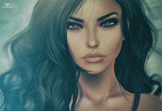 обоя 3д графика, портрет , portraits, девушка, волосы, портрет, брюнетка