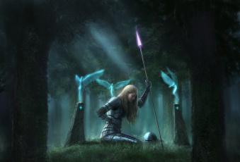 обоя фэнтези, девушки, девушка, воин, лес, копье, доспехи, феи