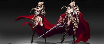 обоя фэнтези, эльфы, фон, униформа, взгляд, меч, девушка