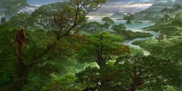 обоя фэнтези, пейзажи, море, горы, река, деревья, лес, панорама