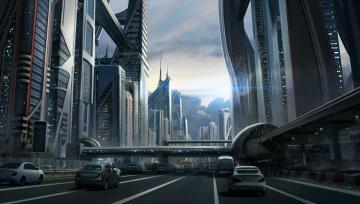 обоя фэнтези, иные миры,  иные времена, иной, мир, город, сооружения, автомобили
