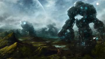 обоя фэнтези, роботы,  киборги,  механизмы, иной, мир, девушка
