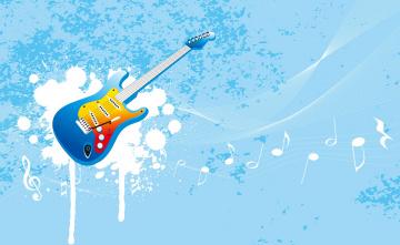 обоя векторная графика, другое , other, ноты, краска, гитара, инструмент, музыка