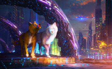 обоя фэнтези, иные миры,  иные времена, волки, фон, взгляд, город