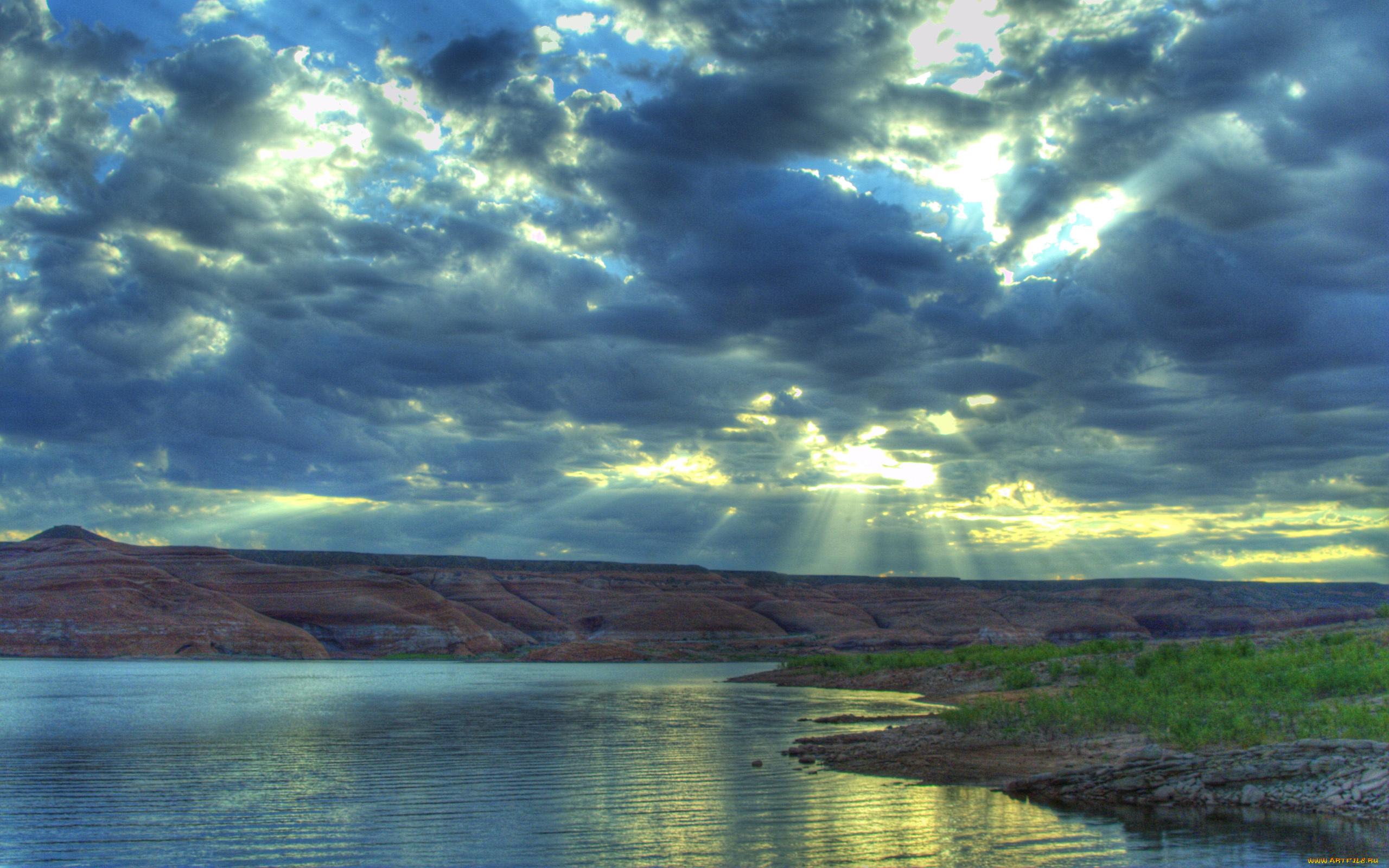 природа облака солнце река  № 2602870  скачать