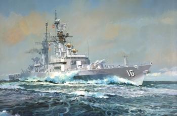 Картинка корабли рисованные небо море эсминец корабль