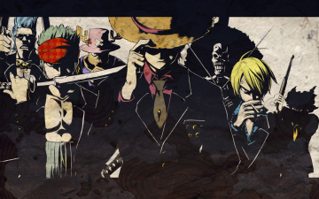 Картинка аниме one piece peace sanji monkey d luffy roronoa zoro usopp chopper franky brook