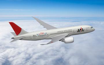 Картинка boeing 787 dreamliner jal авиация 3д рисованые graphic полет небо лайнер