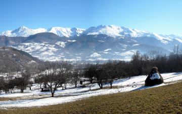 Картинка природа горы деревья долина зима