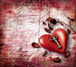 Картинка праздничные день+святого+валентина +сердечки +любовь листья ключик сердце день святого валентина праздник