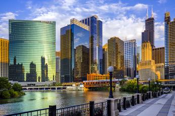 Картинка города Чикаго+ сша мост небоскребы река usa illinois